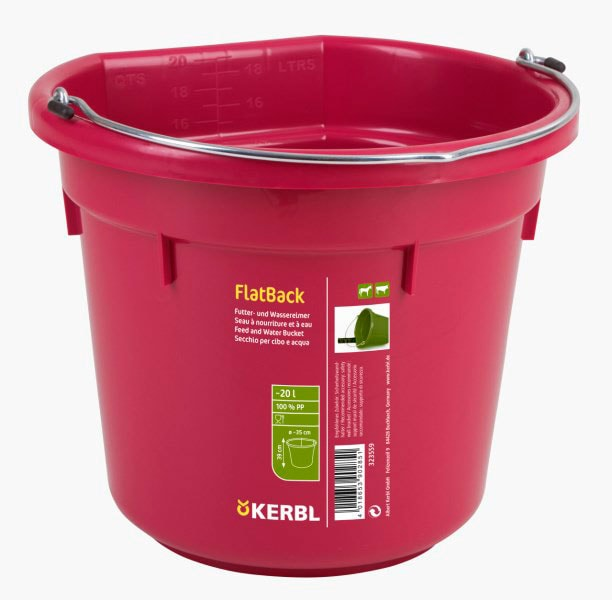 Bucket with flat side